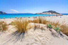 Amazing tropical sandy beach of Simos on Elafonissos island, Peloponnese. Amazing tropical sandy beach of Simos on Elafonissos island, Peloponnese, Greece stock photos