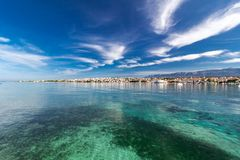 Amazing turquoise view of town of Novalja, Pag island, Croatia royalty free stock image
