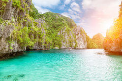 Amazing Turquoise waters in El Nido, Philippines. Amazing crystal clear turquoise waters in El Nido, Philippines stock image