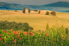 Majestic Vitaleta chapel near Pienza, Tuscany, Italy, Europe Royalty Free Stock Photography