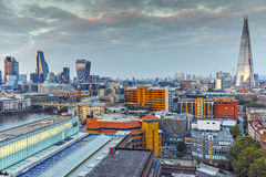 Amazing Twilight skyline of city of London and Thames river, England Royalty Free Stock Photos