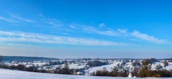 Amazing panorama of the Ukrainian village in western Ukraine in winter stock photos