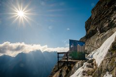 Amazing and unique mountain toilet near Rysy in Slovakia royalty free stock photography