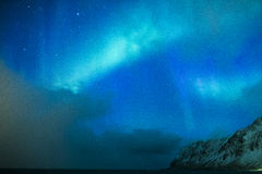 Amazing and Unique Northern Lights Aurora Borealis Over Lofoten Royalty Free Stock Photography