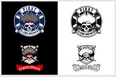 Amazing and unique set of pirate skull head vector emblem logo template royalty free illustration