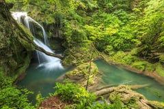 Amazing Vaioaga waterfall,Beusnita National Park,Romania. Vaioaga waterfall and clean river,Beusnita National Park,Romania Royalty Free Stock Image