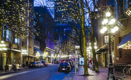 Amazing Vancouver Gastown district at night - the old town - VANCOUVER - CANADA - APRIL 12, 2017. Amazing Vancouver Gastown district at night - the old town Royalty Free Stock Photography