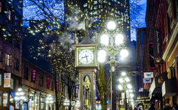 Amazing Vancouver Gastown district at night - the old town - VANCOUVER - CANADA - APRIL 12, 2017. Amazing Vancouver Gastown district at night - the old town Stock Images