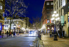 Amazing Vancouver Gastown district at night - the old town - VANCOUVER - CANADA - APRIL 12, 2017. Amazing Vancouver Gastown district at night - the old town Royalty Free Stock Image