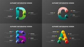 Amazing vector alphabet A, B, C, D symbol infographic 3D realistic colorful balls presentation bundle. Amazing vector alphabet infographic 3D realistic colorful vector illustration