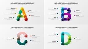 Amazing vector alphabet A, B, C, D symbol infographic 3D realistic colorful balls presentation design illustration bundle. Amazing vector alphabet infographic vector illustration