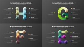 Amazing vector alphabet E, F, G, H infographic 3D realistic colorful balls presentation bundle. Amazing vector alphabet infographic 3D realistic colorful balls vector illustration