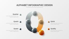 Amazing vector Q symbol alphabet 5 option infographic 3D realistic colorful balls presentation. Amazing vector alphabet 5 option infographic 3D realistic royalty free illustration
