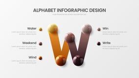 Amazing vector alphabet W symbol 5 option infographic 3D realistic colorful balls presentation template. Amazing vector alphabet 5 option infographic 3D vector illustration
