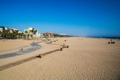 Amazing Venice beach during morning sunrise. Lights in Los Angeles Royalty Free Stock Photography