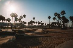 Amazing Venice beach during morning sunrise. Lights in Los Angeles Royalty Free Stock Images