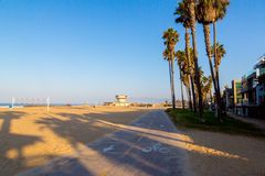 Amazing Venice beach during morning sunrise. Lights in Los Angeles Stock Image