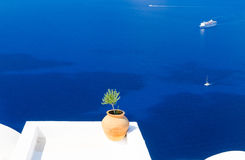 Amazing view on aegean sea from Santorini island, Cyclades, Greece. View on blue sea from greek island stock image