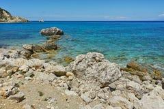 Amazing view of the Agios Nikitas Beach, Lefkada, Ionian Islands Stock Images
