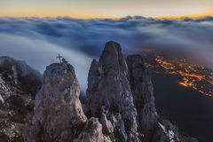 Amazing view from Ai-Petri mountain. Evening Crimea royalty free stock photography
