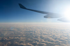 Amazing view from airplane in the morning stock photo