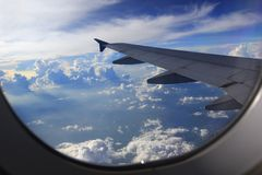 Amazing view from airplane window, Beautiful of Airplane wing wi royalty free stock image