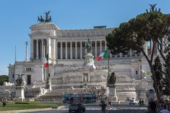 Amazing view of Altar of the Fatherland- Altare della Patria, known as the national Monument to Victo. ROME, ITALY - JUNE 23, 2017: Amazing view of Altar of the royalty free stock photo