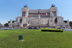 Amazing view of Altar of the Fatherland- Altare della Patria, known as the national Monument to Victo. ROME, ITALY - JUNE 23, 2017: Amazing view of Altar of the Stock Images