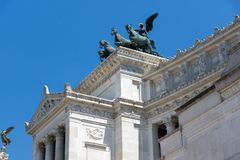 Amazing view of Altar of the Fatherland- Altare della Patria, known as the national Monument to Victo. ROME, ITALY - JUNE 23, 2017: Amazing view of Altar of the Royalty Free Stock Images