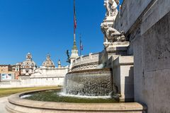 Amazing view of Altar of the Fatherland- Altare della Patria, known as the national Monument to Victo. ROME, ITALY - JUNE 23, 2017: Amazing view of Altar of the royalty free stock image