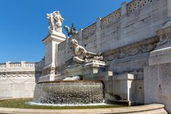 Amazing view of Altar of the Fatherland- Altare della Patria, known as the national Monument to Victo. ROME, ITALY - JUNE 23, 2017: Amazing view of Altar of the Stock Photos