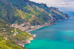 Amazing view of Amalfi coast and town of Maiori from Ravello village, Campania region, South of Italy Stock Photos