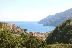 Amazing view of Amalfi Coast from Vietri sul Mare village, Italy.  royalty free stock photography
