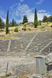 Amazing view of Amphitheater in Ancient Greek archaeological site of Delphi, Greece Stock Photo