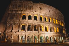 Majestic Colloseum at night, Rome, Italy. Amazing view of ancient Colloseum at night, Rome, Italy Stock Photos