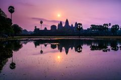 Amazing view of Angkor Wat temple at sunrise. The temple complex. Angkor Wat in Cambodia is the largest religious monument in the world. Location: Siem Reap Royalty Free Stock Photography