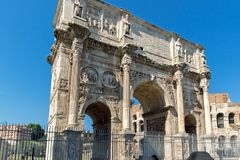 Amazing view of Arch of Constantine near Colosseum in city of Rome, Italy. ROME, ITALY - JUNE 23, 2017: Amazing view of Arch of Constantine near Colosseum in Royalty Free Stock Photography