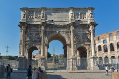 Amazing view of Arch of Constantine near Colosseum in city of Rome, Italy. ROME, ITALY - JUNE 23, 2017: Amazing view of Arch of Constantine near Colosseum in Stock Images
