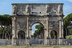 Amazing view of Arch of Constantine near Colosseum in city of Rome, Italy. ROME, ITALY - JUNE 23, 2017: Amazing view of Arch of Constantine near Colosseum in Royalty Free Stock Photos