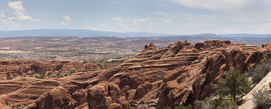 Amazing view at Arches state park, UT. A magnificent view from the Devils garden loop trail at Arches state park in Utah Royalty Free Stock Images