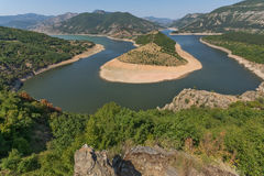 Amazing view of Arda River meander and Kardzhali Reservoir Royalty Free Stock Images
