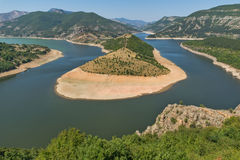 Amazing view of Arda Rivermeander and Kardzhali Reservoir Royalty Free Stock Photography