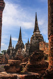 Amazing view of asian religious architecture ancient Pagodas in Wat Phra Sri Sanphet Historical Park, Ayutthaya province, Thailand Stock Images