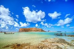 Amazing view of Balos Lagoon with magical turquoise waters, lagoons, tropical beaches of pure white sand and Gramvousa island Royalty Free Stock Photos