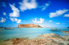 Amazing view of Balos Lagoon with magical turquoise waters, lagoons, tropical beaches of pure white sand and Gramvousa island Stock Images