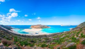 Amazing view of Balos Lagoon with magical turquoise waters, lagoons, tropical beaches of pure white sand and Gramvousa island Stock Image