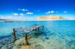 Amazing view of Balos Lagoon with magical turquoise waters, lagoons, tropical beaches of pure white sand and Gramvousa island. Stock Photos