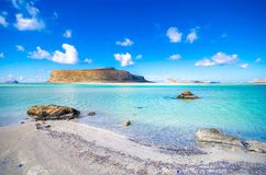 Amazing view of Balos Lagoon with magical turquoise waters, lagoons, tropical beaches of pure white sand and Gramvousa island. Royalty Free Stock Photography