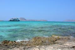 Amazing view of Balos lagoon. Ship on the horizon. Crete Royalty Free Stock Photo