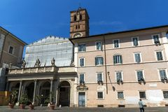 Amazing view of Basilica of Our Lady in Trastevere in Rome, Italy Royalty Free Stock Images